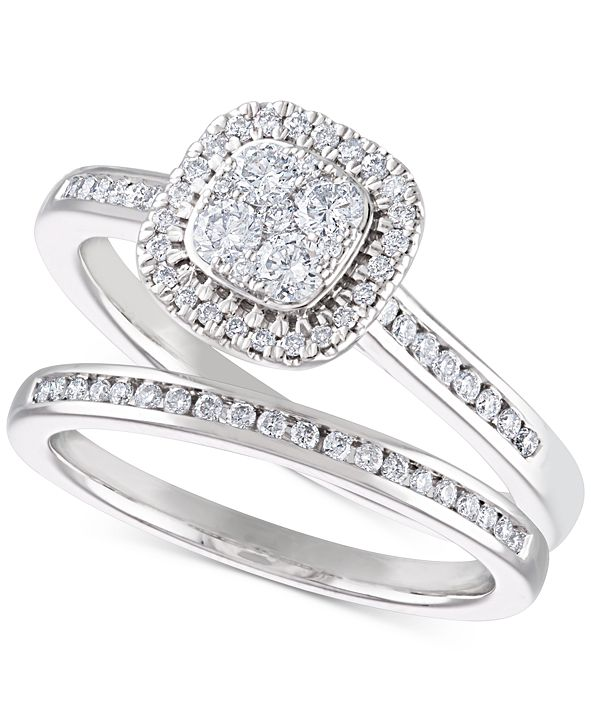 Macy's Diamond Cluster Halo Bridal Set (1/2 ct. t.w.) in 14k White Gold