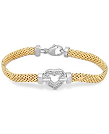 Diamond Heart Bracelet in 14k Gold Vermeil and Sterling Silver (1/8 ct. t.w.)