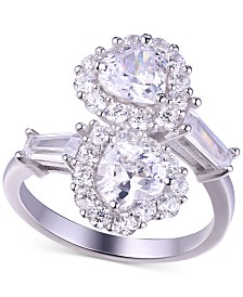 Cubic Zirconia Double Heart Statement Ring in Sterling Silver
