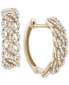 Diamond Oval-Link Hoop Earrings (1/2 ct. t.w.) in 14k Gold, Created for Macy's