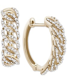 Wrapped in Love™ Diamond Oval-Link Hoop Earrings (1/2 ct. t.w.) in 14k Gold, Created for Macy's