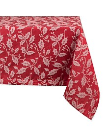 "Design Imports Holly Flourish Jacquard Table Cloth 60"" x 84"""
