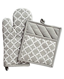 Lattice Oven Mitt Potholder Set
