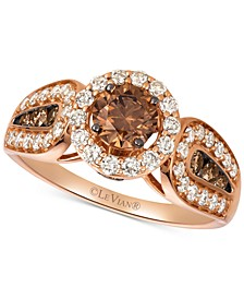 Chocolate Diamonds® (5/8 ct. t.w.) & Nude Diamonds™ (1/2 ct. t.w.) Statement Ring in 14k Rose Gold & 14k White Gold