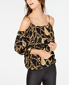 I.N.C. Printed Cold-Shoulder Top, Created for Macy's
