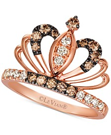 Le Vian® Royalty Collection Chocolate Diamonds® (1/3 ct. t.w.) & Nude Diamonds™ (1/5 ct. t.w.) Tiara Statement Ring in 14k Rose Gold
