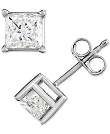 Diamond Princess Stud Earrings (1/2 ct. t.w.) in 14k White Gold