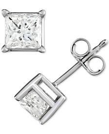 Diamond Princess Stud Earrings (1/2 ct. t.w.) in 14k White Gold