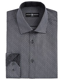 Men's Slim-Fit Moisture-Wicking Wrinkle-Free Geo-Print Dress Shirt