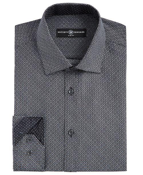 Society of Threads Men's Slim-Fit Moisture-Wicking Wrinkle-Free Geo-Print Dress Shirt