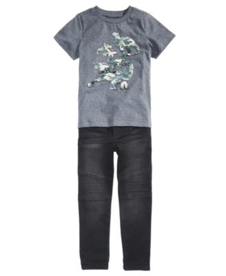Little Boys Stretch Drawstring Moto Jeans, Created for Macy's