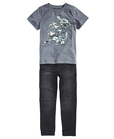 Little Boys Camo Dino T-Shirt & Stretch Drawstring Moto Jeans, Created for Macy's