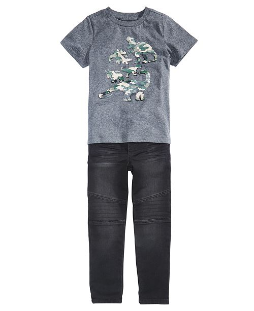 Epic Threads Little Boys Camo Dino T-Shirt & Stretch Drawstring Moto Jeans, Created for Macy's