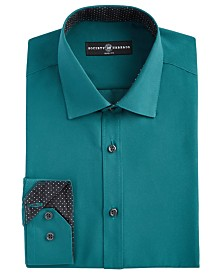 Society of Threads Men's Slim-Fit Moisture-Wicking Wrinkle-Free Dark Green Solid Dress Shirt