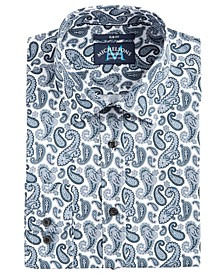 of London Men's Slim-Fit Performance Stretch Paisley-Print Dress Shirt