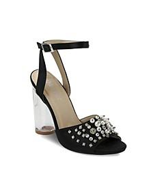 Stuyvesant Rhinestone Pearl Peep Toe Sandals