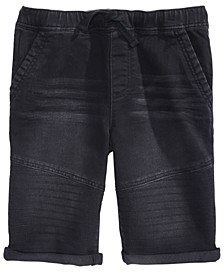Big Boys Stretch Denim Drawstring Moto Shorts, Created for Macy's
