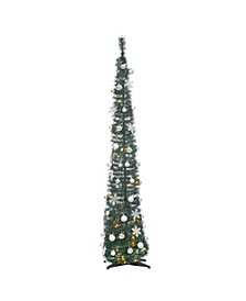 6-Foot High Pop Up Pre-Lit Decorated Narrow Green Tree with Warm White Lights