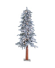 5Ft. Pre-Lit Flocked Alpine Tree with 100 clear lights