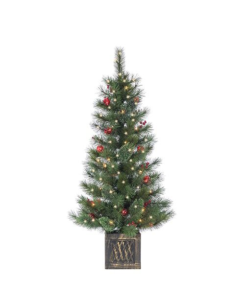 Sterling 4Ft. Potted Hard Needle Cashmere Tree with Red Picks and Berries and 50 Clear and Red Lights