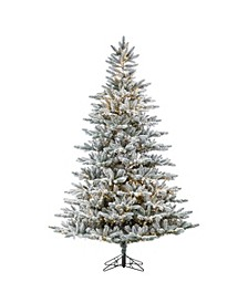 7.5-Foot High Flocked Pre-Lit Natural Cut Redwood Pine with Warm White LED Lights