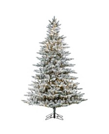 Sterling 7.5-Foot High Flocked Pre-Lit Natural Cut Redwood Pine with Warm White LED Lights