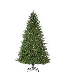 7.5-Foot High Stone Pine Pre-Lit Tree with Clear White Lights