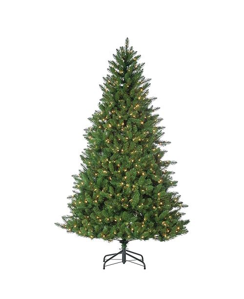 Sterling 7.5-Foot High Stone Pine Pre-Lit Tree with Clear White Lights