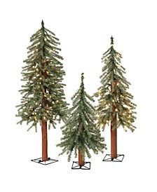 Pre-Lit Alpine Trees w/ Metal Wire Base - Set of 3