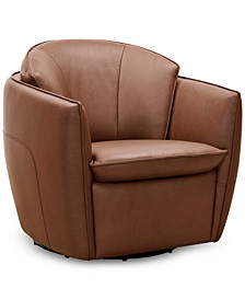"""Chanute 32"""" Leather Accent Swivel Chair, Created for Macy's"""