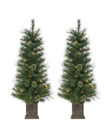 Sterling 4Ft. Potted Hard Mixed Needle Cashmere Tree with 70 Clear Lights - Set of 2