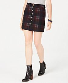 Plaid Button Denim Skirt