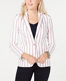 Striped Single-Button Blazer, Created for Macy's