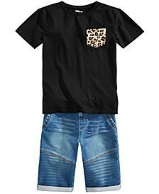 Big Boys Leopard-Pocket T-Shirt & Stretch Denim Drawstring Moto Shorts, Created for Macy's