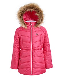 Little Girls Fur-Trim Hooded Chevron Puffer Jacket