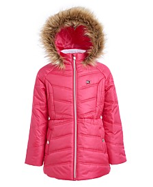 Tommy Hilfiger Little Girls Fur-Trim Hooded Chevron Puffer Jacket