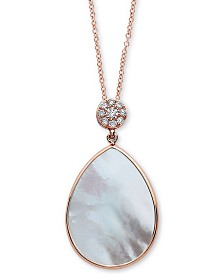 """EFFY® Mother-of-Pearl & Diamond (1/10 ct. t.w.) 18"""" Pendant Necklace in 14k Rose Gold"""