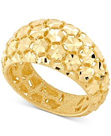 Effy Oro by EFFY® Bead-Design Wide-Band Statement Ring in 14k Gold