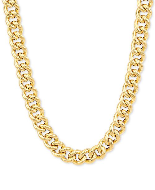 """Italian Gold Curb Link 18"""" Chain Necklace in 14k Gold"""