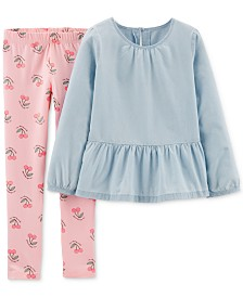 Carter's Little & Big Girls 2-Pc. Chambray Top &  Cherry-Print Leggings Set
