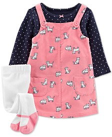 Carter's Baby Girls 3-Pc. Dot-Print T-Shirt, Animal-Print Corduroy Jumper & Footed Tights Set
