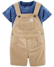 Carter's Baby Boys 2-Pc. Cotton Dog-Print T-Shirt & Shortalls Set