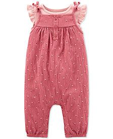 Carter's Baby Girls 2-Pc. Cotton Flutter-Sleeve T-Shirt & Crinkle Coveralls Set