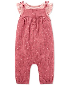 Carter's Baby Girls 2-Pc. Cotton Flutter-Sleeve T-Shirt & Crinkle Coveralls Set