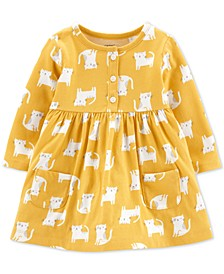 Baby Girls Cat-Print Cotton Dress