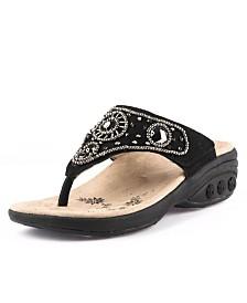 Therafit Shoe Hazel Suede Jeweled Sandal