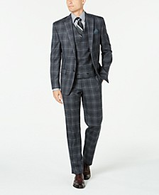 Men's Classic-Fit UltraFlex Stretch Charcoal Plaid Suit Separates
