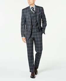 Lauren Ralph Lauren Men's Classic-Fit UltraFlex Stretch Charcoal Plaid Suit Separates