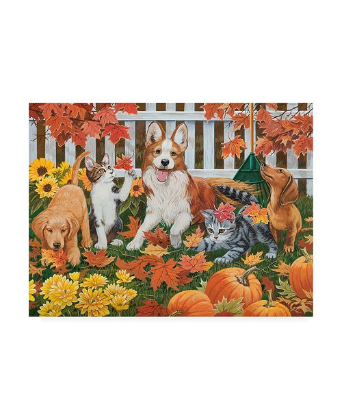 "Trademark Global William Vanderdasson Puppies and Kittens Autumn Theme Canvas Art - 27"" x 33.5"""