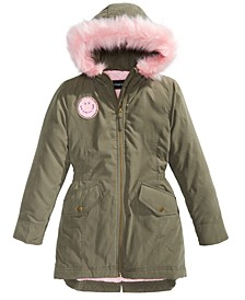 Big Girls Hooded Happy Coat With Faux-Fur Trim